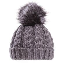 Black Ladies Bobble Hat - Chunky Winter Beanie