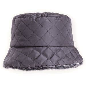 Black Ladies Quilted Winter Bush Hat With Faux Fur Lining | It's My Hat