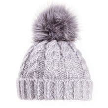 Grey Ladies Bobble Hat - Chunky Winter Beanie
