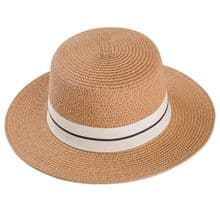 Ladies Straw Boater Hat - Dark Natural Colour