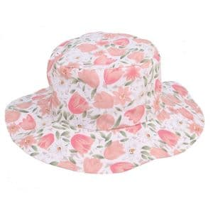 Ladies Sun Hat - Floral Design - White With Pink Tulips   It's My Hat