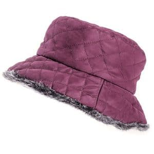 Maroon Ladies Quilted Winter Bush Hat With Faux Fur Lining | It's My Hat