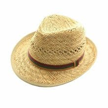 Men's Straw Trilby Hat Summer with Classic Striped Band