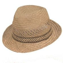 Mens Straw Trilby Hat -  Straw Hat with Brown Band