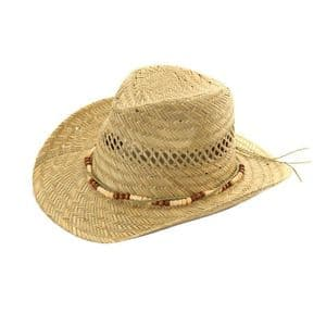 Mens  / Womens Straw Cowboy Hat With Bead Band  - Sun Hat