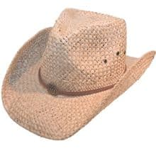 Mens / Womens Straw Cowboy Hat With Brown Leather Band Sun Hat
