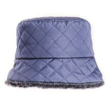 Navy Ladies Quilted Winter Bush Hat With Faux Fur Lining
