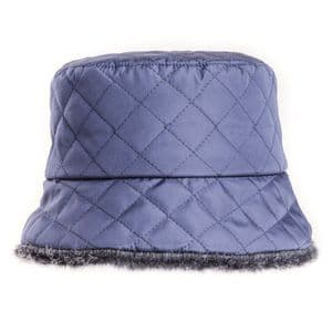 Blue / Navy  Ladies Quilted Winter Bush Hat With Faux Fur Lining   It's My Hat