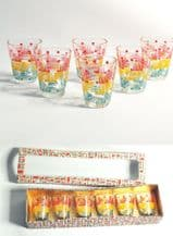 Mid Century French Shot glasses x 6 In Original box
