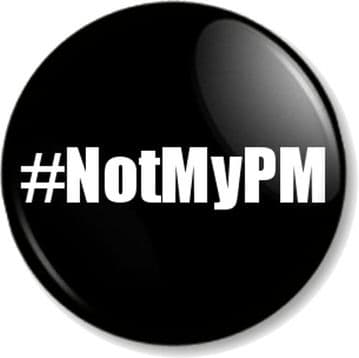 #NotMyPM (Not My Prime Minister) - Boris Johnson Pin Button Badge in Black - Various sizes