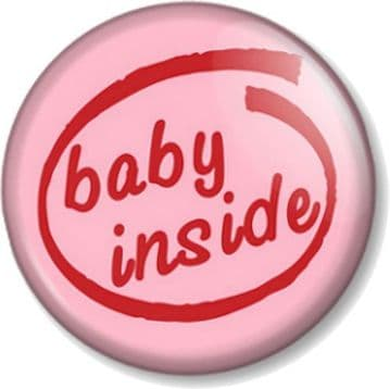 BABY INSIDE (Intel Pentium) - PINK - Pinback Button Badge Pregnant Mother Mum to Be Shower gift