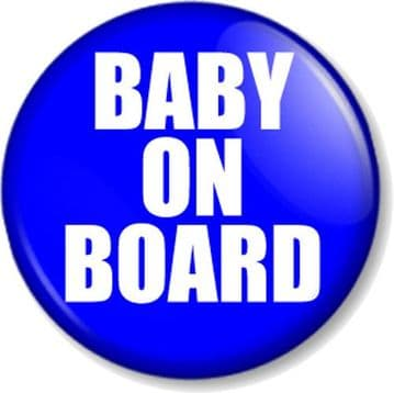 BABY ON BOARD - BLUE - Pnback Button Badge Novelty/ Message - Mum to Be - Baby Shower Gift