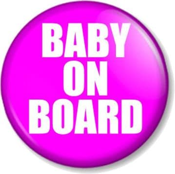 BABY ON BOARD - PINK - Pinback Button Badge Pregnant Mother Mum to Be Expecting Baby Shower Gift