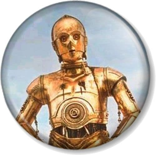 C-3PO Pinback Button Badge Star Wars Character Droid Robot George Lucas Movie R2-D2's mate