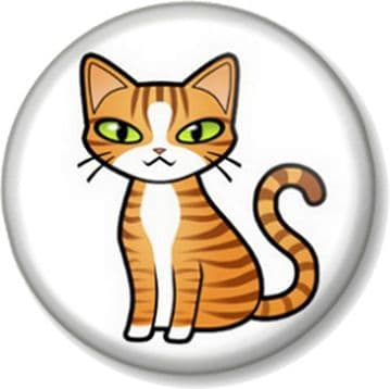 CatPin Button Badge Favourite Pet Animal Lover Pussy Feline Cute Cartoon
