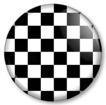 Checkered / chequered Pinback Button Badge Black & White Pattern Ska Punk Motor Racing Flag