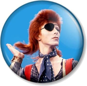 DAVID BOWIE Pinback Button Badge ZIGGY STARDUST HUNKY DORY EYE PATCH HAIR FLICK