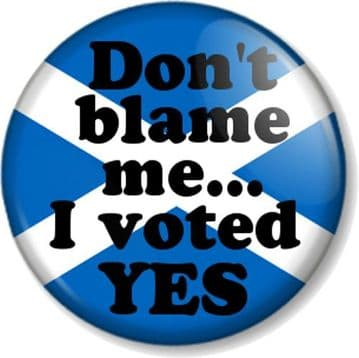 """Don't blame me I voted YES 25mm 1"""" Pin Button Badge Scottish Referendum Humour"""