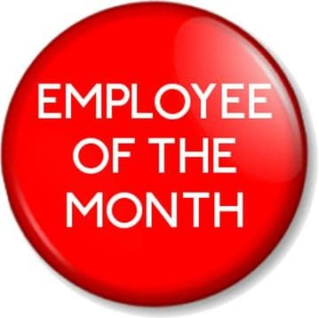 EMPLOYEE OF THE MONTH / WEEK / YEAR Pinback Button Badge Novelty Work Job RED