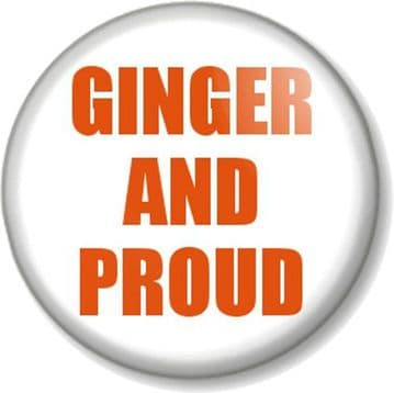 GINGER AND PROUD Pinback Button Badge Novelty Geek Joke Red Head Carrot Top