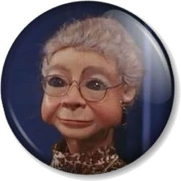 Grandma Tracy (Design 3) Thunderbirds Pinback Button Badge Tracy Island Puppet Character