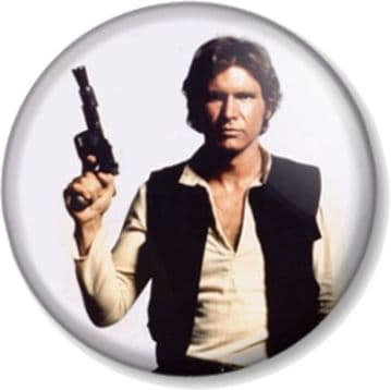 Han Solo Pinback Button Badge Star Wars Movies Character Harrison Ford Pirate