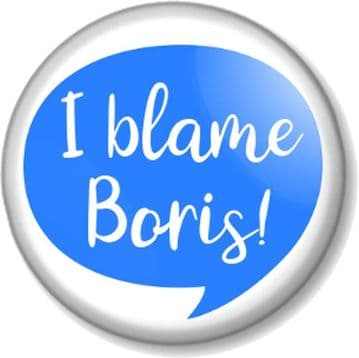 I Blame Boris Pin Button Badge - Various sizes - Speech Bubble - Anti Tory - Not My Prime Minister
