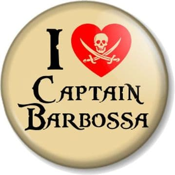 I Love / Heart Captain Barbossa Pin Button Badge Pirates of the Caribbean Movie Villain