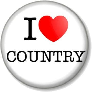 I Love / Heart COUNTRY Pinback Button Badge Music Style Western American