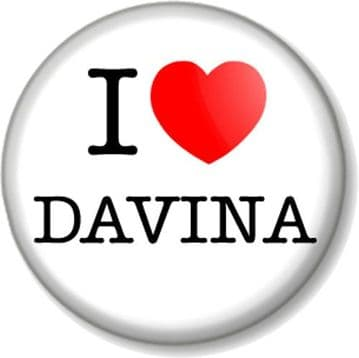 I Love / Heart DAVINA Pinback Button Badge McCall TV Presenter Big Brother Celebrity Fitness