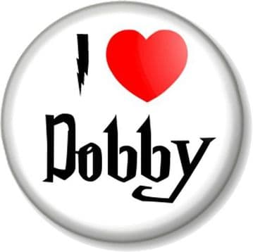 I Love / Heart DOBBY Pinback Button Badge The House Elf Harry Potter J K Rowling