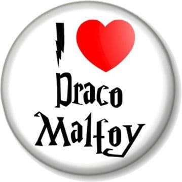 I Love / Heart Draco Malfoy Pinback Button Badge Harry Potter J K Rowling Villain Death Eater