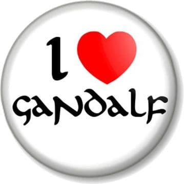 I Love / Heart GANDALF Pin Button Badge The Hobbit Lord Of Rings JRR Tolkein