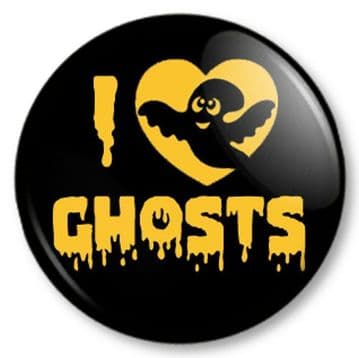 I Love / Heart GHOSTS Pinback Button Badge Halloween Fancy Dress Kids Party Ghouls Scary Fun Creepy