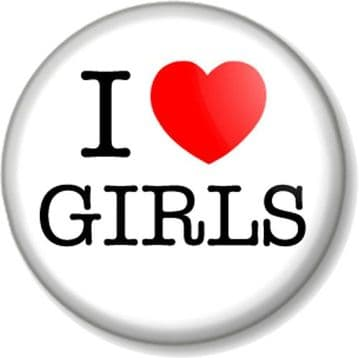 I Love / Heart GIRLS Pinback Button Badge Geek Chic Nerd Cute Novelty Humour