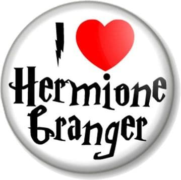 I Love / Heart Hermoine Granger Pinback Button Badge Harry Potter Emma Watson Witch