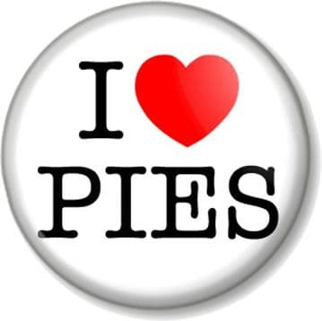 I Love / Heart PIES Pin Button Badge Cakes Bake Off Meat Pastries Food