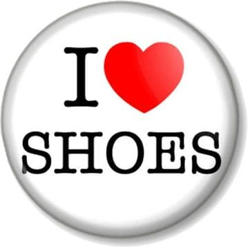 I Love / Heart SHOES Pinback Button Badge Designer Clothes Shopping Fahion