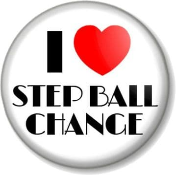 I Love / Heart STEP BALL CHANGE Pinback Button Badge Dance Step Move Stage Rehearsal Dancer