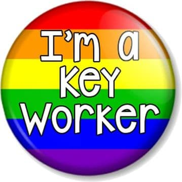 I'm a Key Worker Pin Button Badge Rainbow Flag for all essential workers
