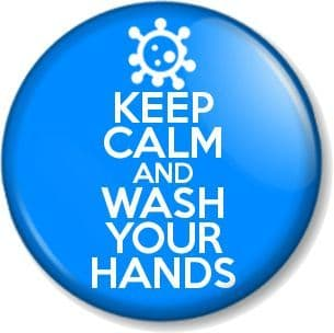 KEEP CALM AND WASH YOUR HANDS Pin Button Badge Coronavirus COVID-19 Pandemic Virus