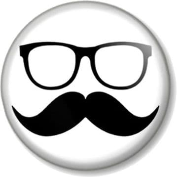 Moustcahe and Glasses Pinback Button Badge Movember Must Dash Funny Geek Nerd