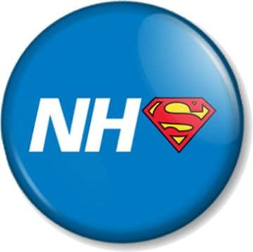 NHS Superhero Pin Button Badge Save The National Health Service Key Worker Our Heroes - Blue