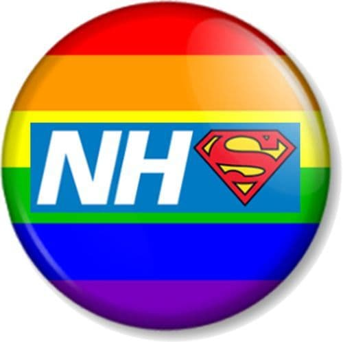 NHS Superhero Pin Button Badge Save The National Health Service Key Worker Our Heroes - Rainbow Flag