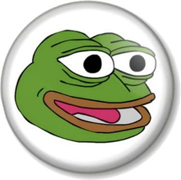 PEPE THE FROG HAPPY FACE Pinback Button Badge Internet Meme 4chan Humour Alternative