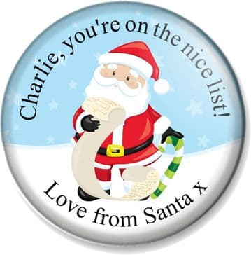 Personalised Christmas 58mm Badge - Santa's Nice List