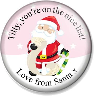 Personalised Christmas 58mm Badge - Santa's Nice List - Pink