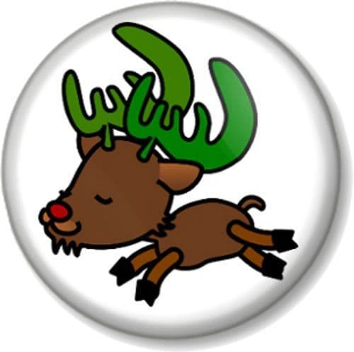 Reindeer Pinback Button Badge Rudolph the red nosed Reindeer Father Christmas Santa's Sleigh