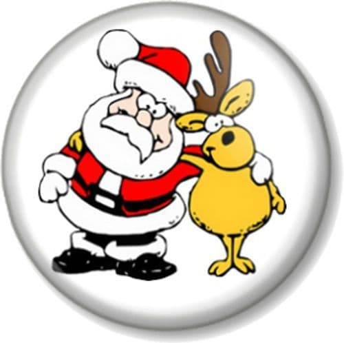 Santa Claus and Rudolph Pinback Button Badge red nosed reindeer Father Christmas Xmas