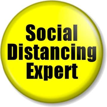 SOCIAL DISTANCING EXPERT Covid-19 Coronavirus Keep 6 Feet / 2 Metres Away Pin Button Badges